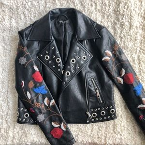 Romeo & Juliet Couture Embroidered Leather Jacket